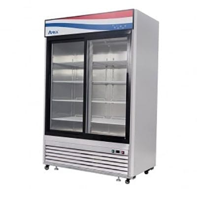Atosa USA, Inc. MCF8709GR, Bottom Mount 2 Sliding Glass Door S/S In/Out Refrigerator Cooler