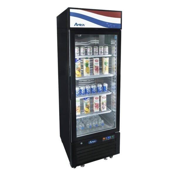 Atosa USA, Inc. MCF8725GR, Bottom Mount (1) Glass Door Refrigerator 11.1 cu ft – Black Cabinet