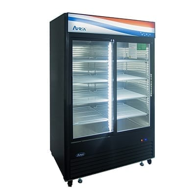 Atosa USA, Inc. MCF8727GR, Bottom Mount (2) Glass Sliding Door Refrigerator 44.85 cu ft – Black Cabinet