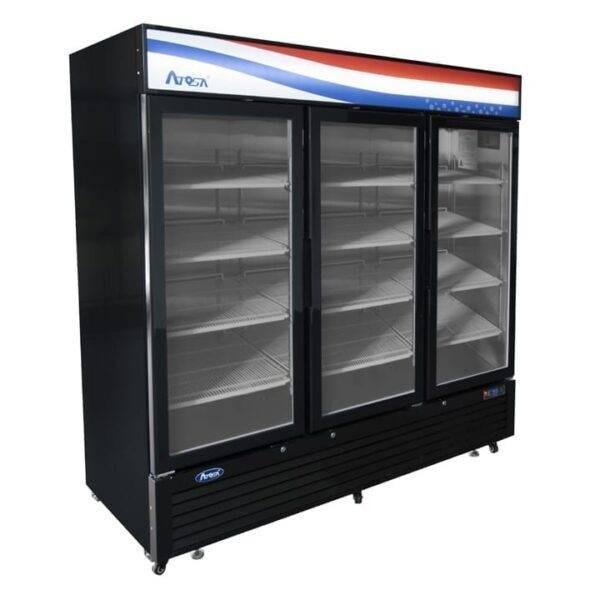 Atosa USA, Inc. MCF8728GR, Bottom Mount 3 Glass Door Freezer 69.54 cu ft – Black Cabinet