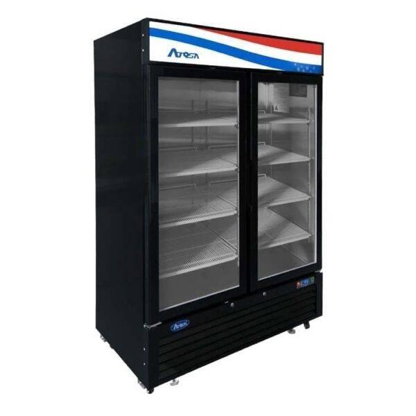 Atosa USA, Inc. MCF8733GR, Bottom Mount Two (2) Glass Door Refrigerator – 28.5 cu ft Black Cabinet