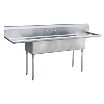 """Atosa USA, Inc. MRSA-3-D, Three (3) Compartment Sink, 18"""" Right and Left Drainboards"""