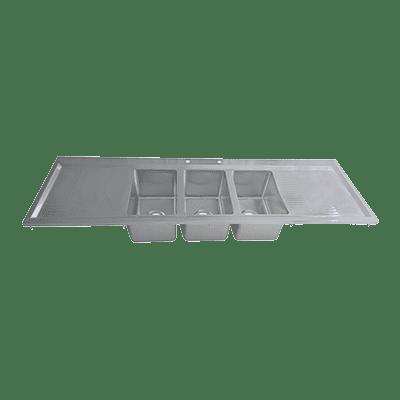 BK Resources BK-DIS-1014-3-12T Drop-In Sink, three compartmen…