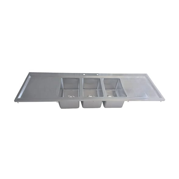 BK Resources BK-DIS-1014-3-18T-PG Drop-In Sink, three compartmen…