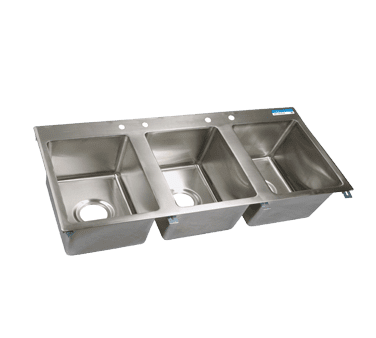 BK Resources BK-DIS-1620-3 Drop-In Sink, three compartment