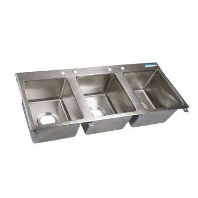 BK Resources BK-DIS-1620-3-P-G Drop-In Sink, three compartmen