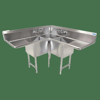 BK Resources BKCS-3-24-14-24TS Corner Sink, three compartment…