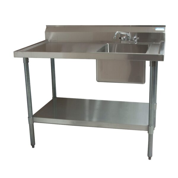 BK Resources BKMPT-3060S-R-P-G Work Table with Prep Sink