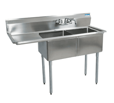 BK Resources BKS-2-1620-12-18L Sink, two compartment, 52-1/2″…
