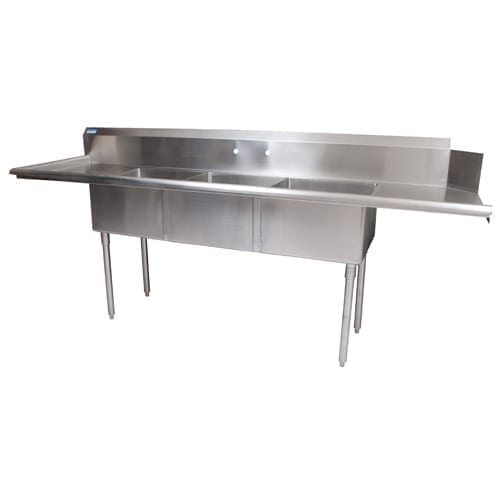 BK Resources BKSDT-3-20-12-20LSPG – 3 Compartment Soiled Dish Table, Sink
