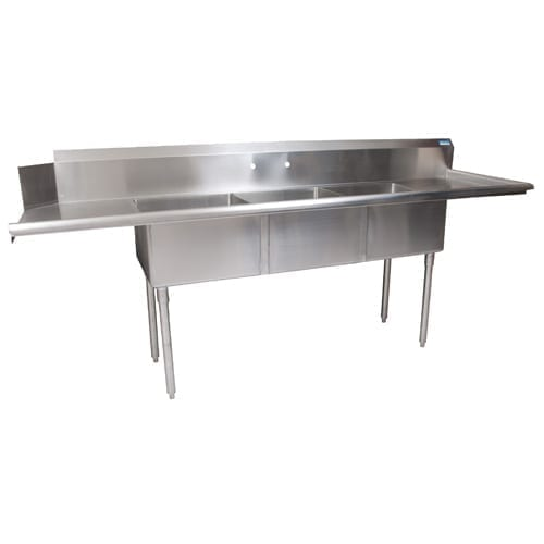 BK Resources BKSDT-3-20-12-20RS Soiled Dishtable, Three Compartment Sink