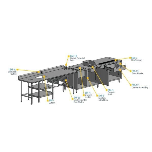 BK Resources EM-12D Drawer Assembly & Front Fascia