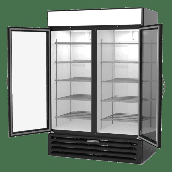 Beverage Air MMRF49HC-1-A-BW 52″ Black Two Section Glass Door Dual Temperature Merchandiser
