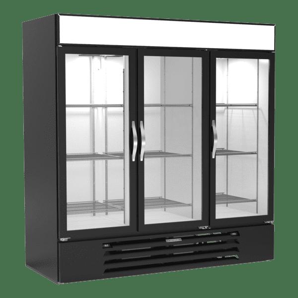 Beverage Air MMRF72HC-1-C-BW Three (3) Section reach-in Dual Temp Refrigerator Freezer Merchandiser