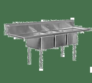 Serv-Ware 3CWPH18182-24 Three (3) Compartment Heavy Duty Series Sink