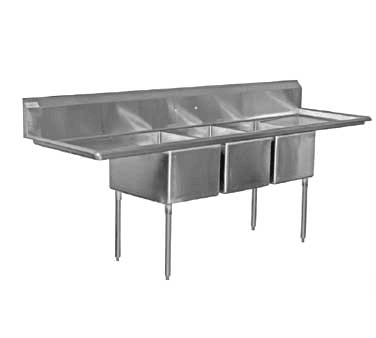 Serv-Ware 3CWPH20282-30 Three (3) Compartment Heavy Duty Series Sink