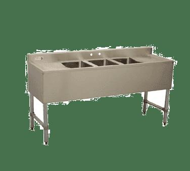 Serv-Ware BAR3B60-LR-CWP Three (3) Compartment Underbar Sink