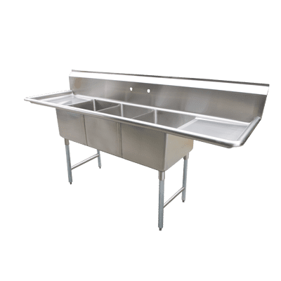 Serv-Ware D3CWP1620 Three (3) Compartment Economy Series Sink