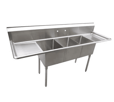 Serv-Ware D3CWP16202-18 Three (3) Compartment Economy Series Sink