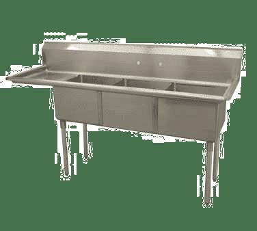 Serv-Ware D3CWP1620L-18 Three (3) Compartment Economy Series Sink