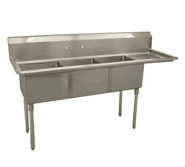 Serv-Ware D3CWP1620R-18 Three (3) Compartment Economy Series Sink