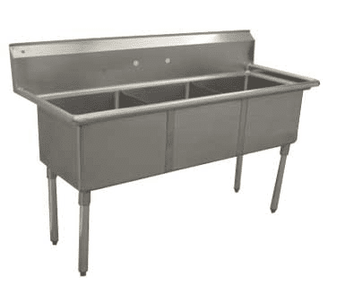 Serv-Ware D3CWP1818 Three (3) Compartment Economy Series Sink