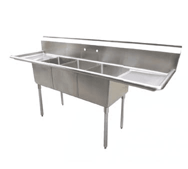 Serv-Ware D3CWP18182-18 Three (3) Compartment Economy Series Sink