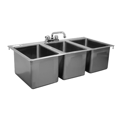 Serv-Ware DIS-3C1620-CWP Three (3) Compartment Drop-In Sink