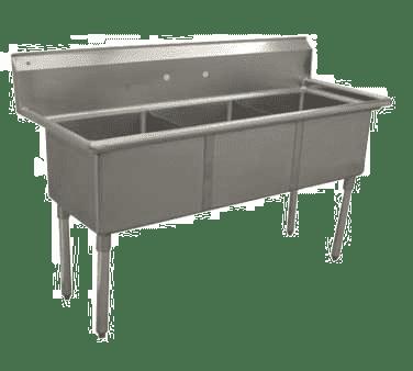 Serv-Ware E3CWP1818 Three (3) Compartment Economy Series Sink
