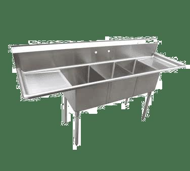 Serv-Ware E3CWP18182-24 Three (3) Compartment Economy Series Sink
