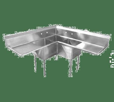 Serv-Ware E3CWP18182-24-C Three (3) Compartment Economy Series Corner Sink