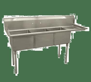 Serv-Ware E3CWP1824R-18 Three (3) Compartment Economy Series Sink