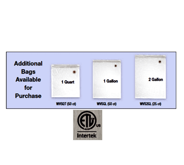 Waring WVSGL Vacuum Seal Bag, 1 gallon, wit…