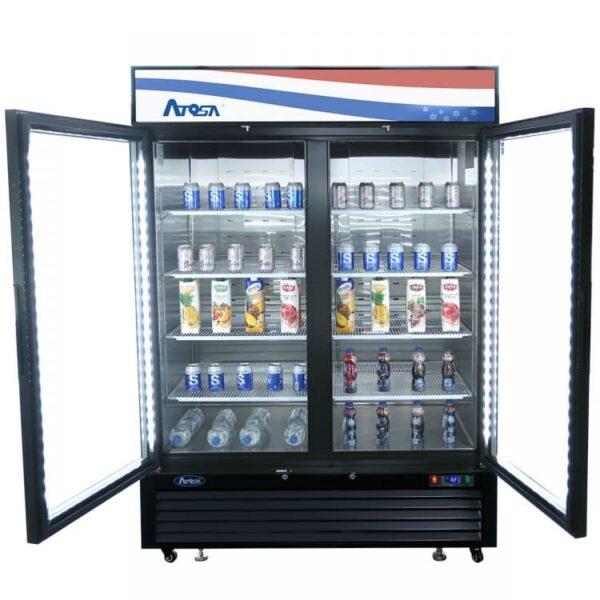 Atosa USA, Inc. MCF8721ES – Black Exterior Glass Two 2 Door Merchandiser Freezer
